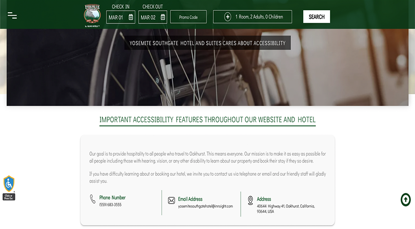 DESIGNATED ACCESSIBILITY PAGE